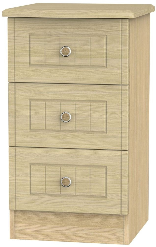 Warwick Light Oak Bedside Cabinet - 3 Drawer Locker