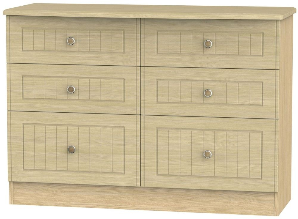 Warwick Light Oak 6 Drawer Midi Chest