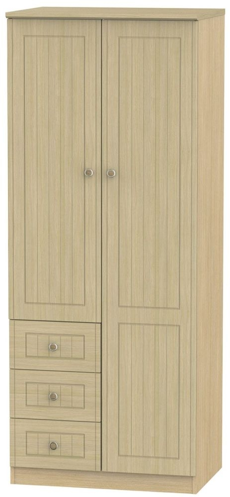 Warwick Light Oak Combination Wardrobe - 2ft 6in