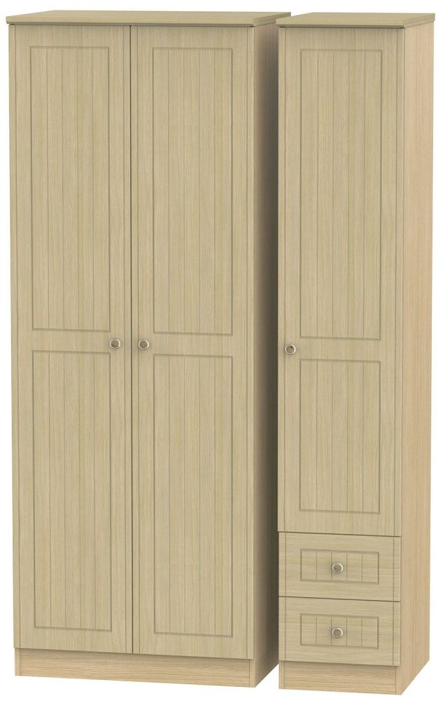 Warwick Light Oak 3 Door 2 Drawer Tall Plain Triple Wardrobe