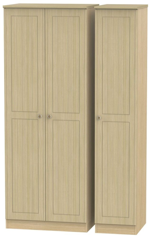 Warwick Oak 3 Door Tall Plain Wardrobe