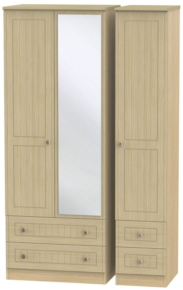 Warwick Light Oak 3 Door 4 Drawer Tall Mirror Triple Wardrobe