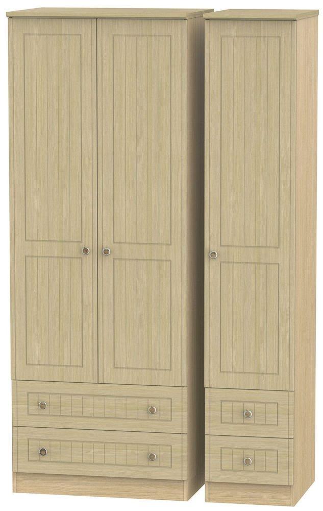 Warwick Oak 3 Door 4 Drawer Tall Wardrobe