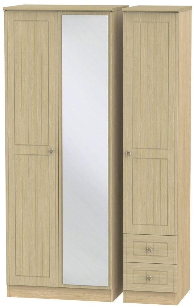 Warwick Light Oak 3 Door 2 Right Drawer Tall Mirror Triple Wardrobe