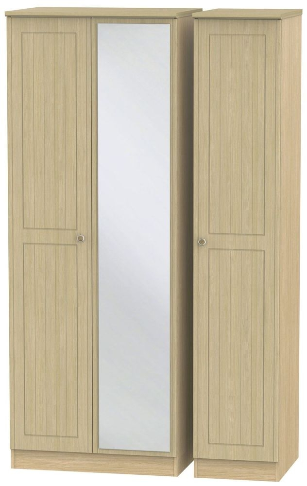 Warwick Oak 3 Door Tall Mirror Wardrobe