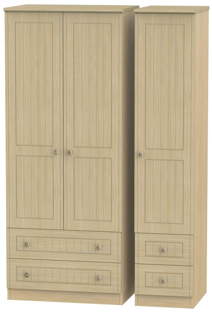 Warwick Light Oak Triple Wardrobe with Drawer