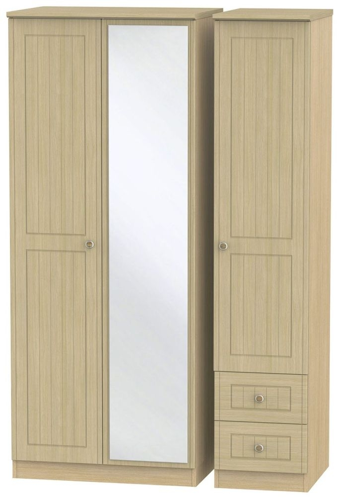 Warwick Oak 3 Door 2 Right Drawer Mirror Wardrobe