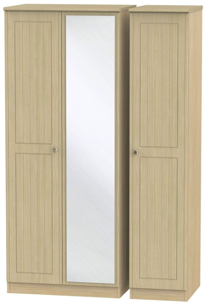 Warwick Light Oak Triple Wardrobe with Mirror