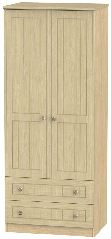 Warwick Light Oak 2 Door 2 Drawer Wardrobe