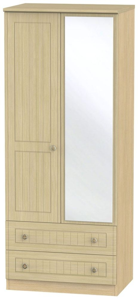 Warwick Light Oak 2 Door 2 Drawer Mirror Wardrobe