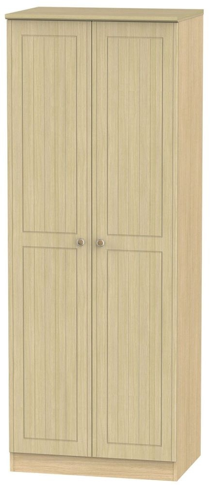 Warwick Light Oak 2 Door Tall Plain Double Wardrobe