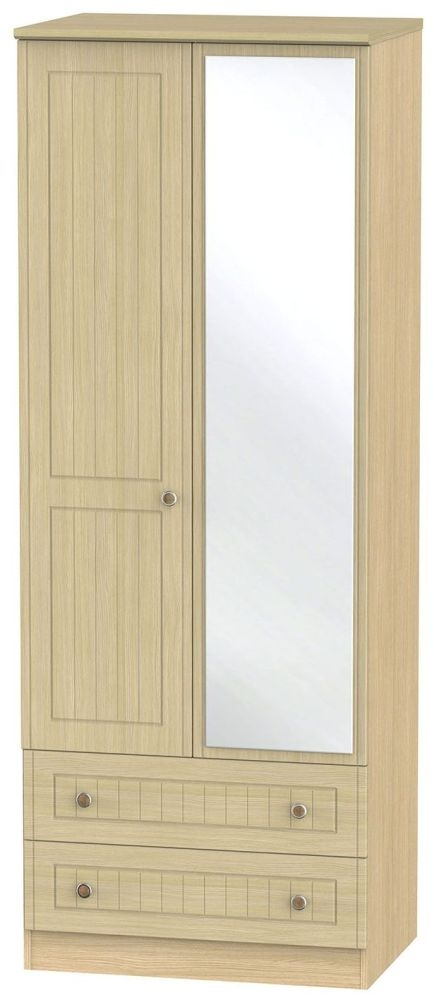 Warwick Light Oak 2 Door 2 Drawer Tall Mirror Double Wardrobe