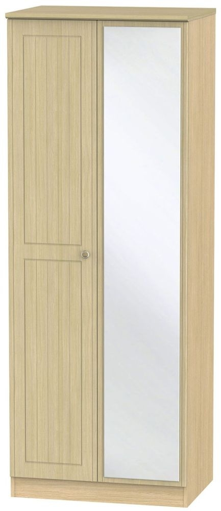 Warwick Oak 2 Door Tall Mirror Wardrobe
