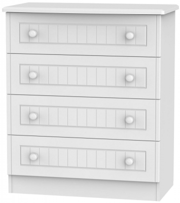 Warwick White 4 Drawer Wide Chest
