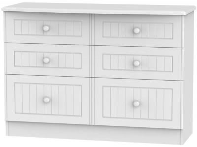 Warwick White Chest of Drawer - 6 Drawer Midi