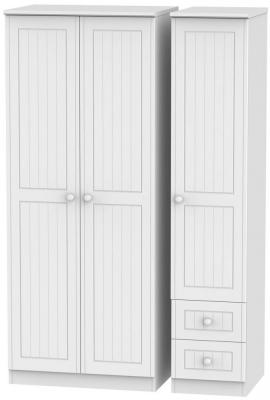 Warwick White Triple Wardrobe - Plain with 2 Drawer