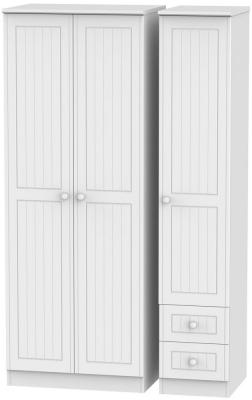 Warwick White Triple Wardrobe - Tall Plain with 2 Drawer