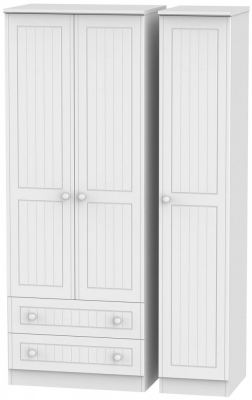 Warwick White Triple Wardrobe - Tall with 2 Drawer