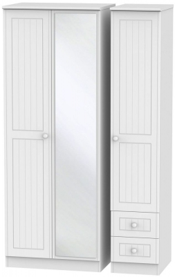 Warwick White Triple Wardrobe - Tall with Drawer and Mirror
