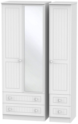 Warwick White Triple Wardrobe - Tall with Mirror and 2 Drawer