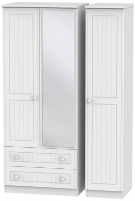 Warwick White Triple Wardrobe with 2 Drawer and Mirror