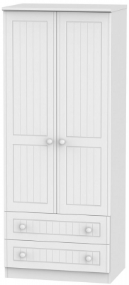 Warwick White Wardrobe - 2ft 6in with 2 Drawer