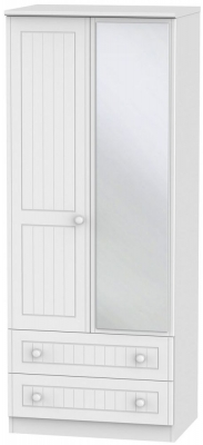 Warwick White Wardrobe - 2ft 6in with Mirror and 2 Drawer