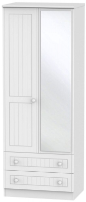 Warwick White Wardrobe - Tall 2ft 6in with Mirror and 2 Drawer