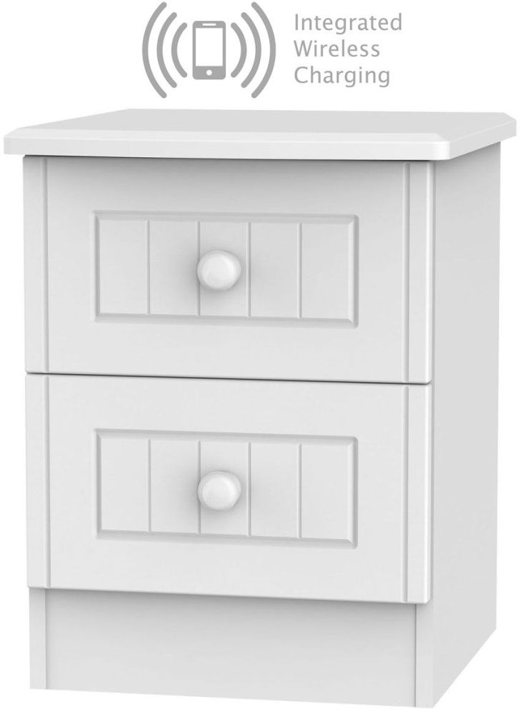 Warwick White 2 Drawer Bedside Cabinet with Integrated Wireless Charging