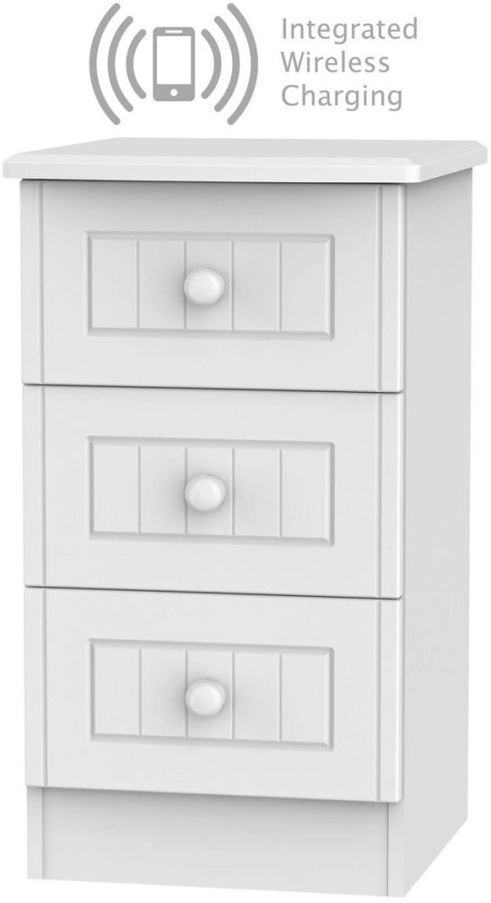 Warwick White 3 Drawer Bedside Cabinet with Integrated Wireless Charging