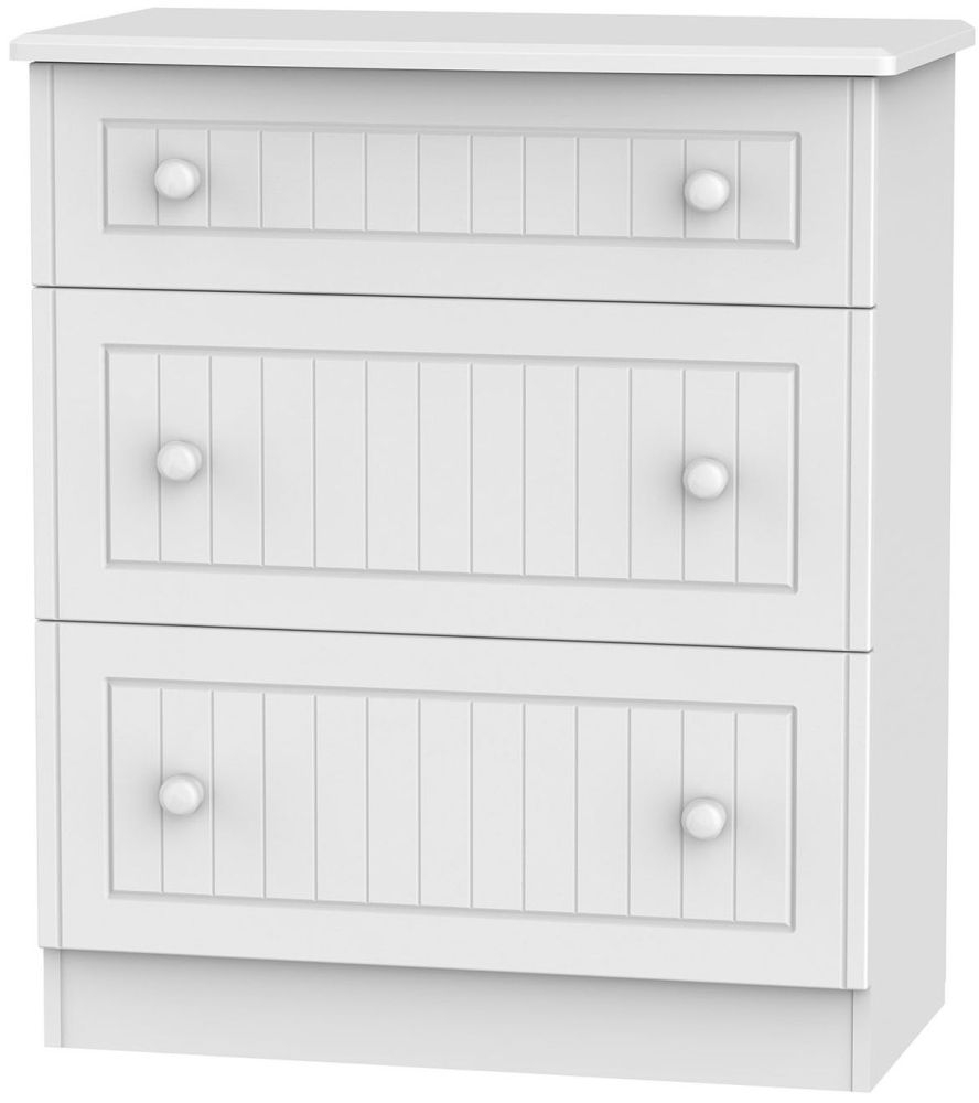 Warwick White Chest of Drawer - 3 Drawer Deep