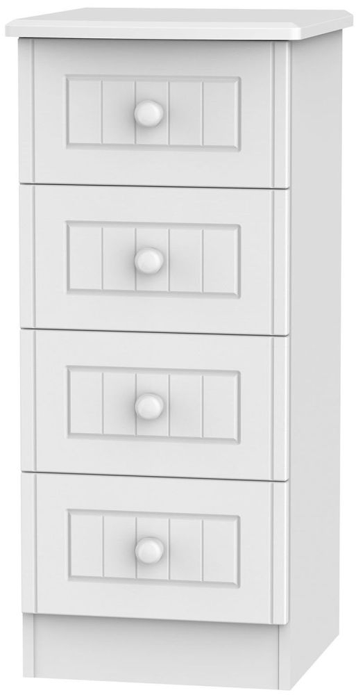 Warwick White Chest of Drawer - 4 Drawer Locker