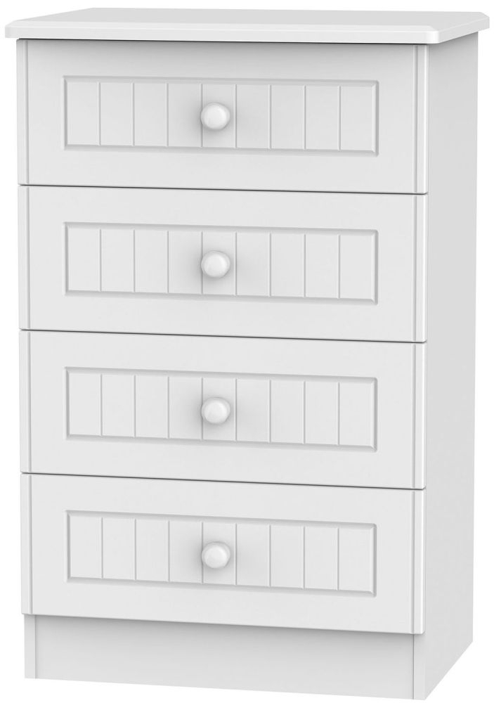 Warwick White Chest of Drawer - 4 Drawer Midi