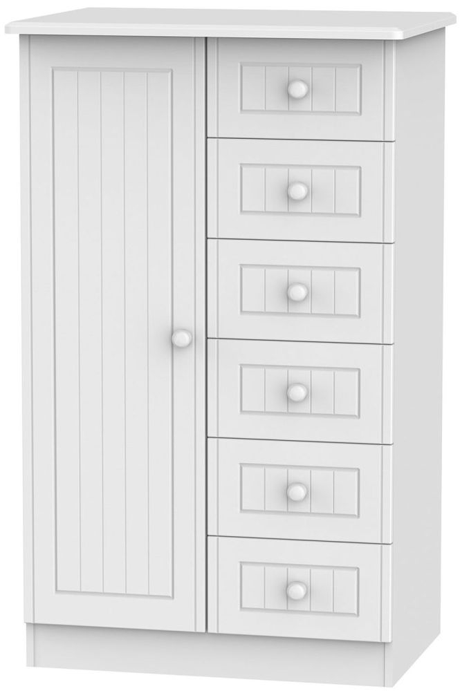 Warwick White 1 Door 6 Drawer Children Wardrobe
