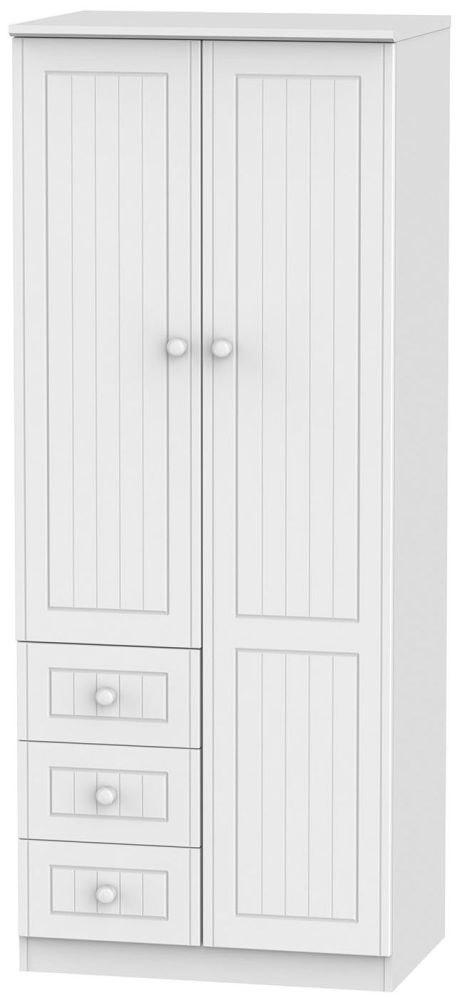 Warwick White 2 Door 3 Drawer Combination Wardrobe