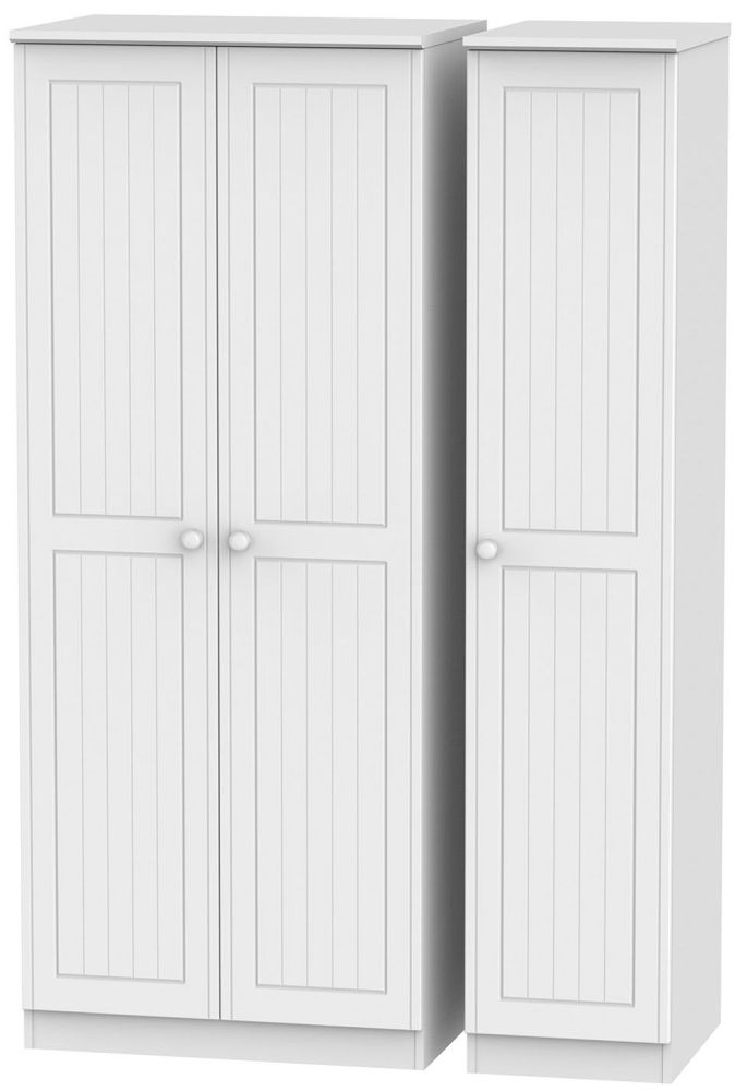 Warwick White 3 Door Plain Triple Wardrobe