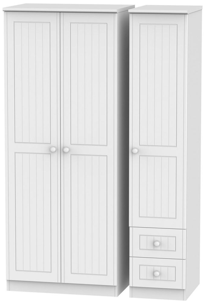 Warwick White Triple Wardrobe - Plain with 2 Drawer