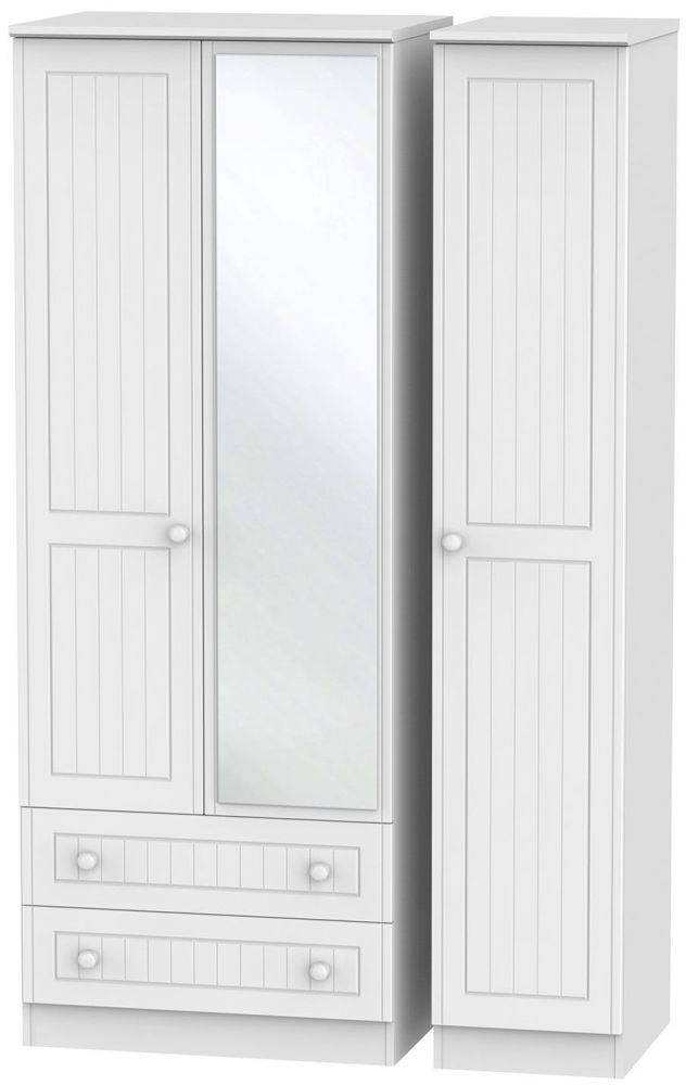 Warwick White 3 Door 2 Left Drawer Tall Mirror Triple Wardrobe