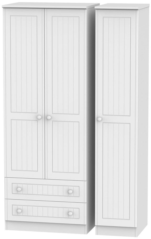 Warwick White Triple Wardrobe - Tall with 2 Drawer