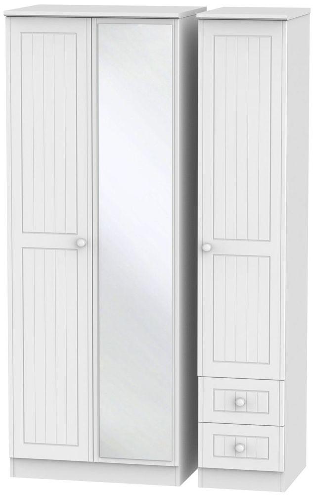 Warwick White 3 Door 2 Right Drawer Tall Mirror Triple Wardrobe