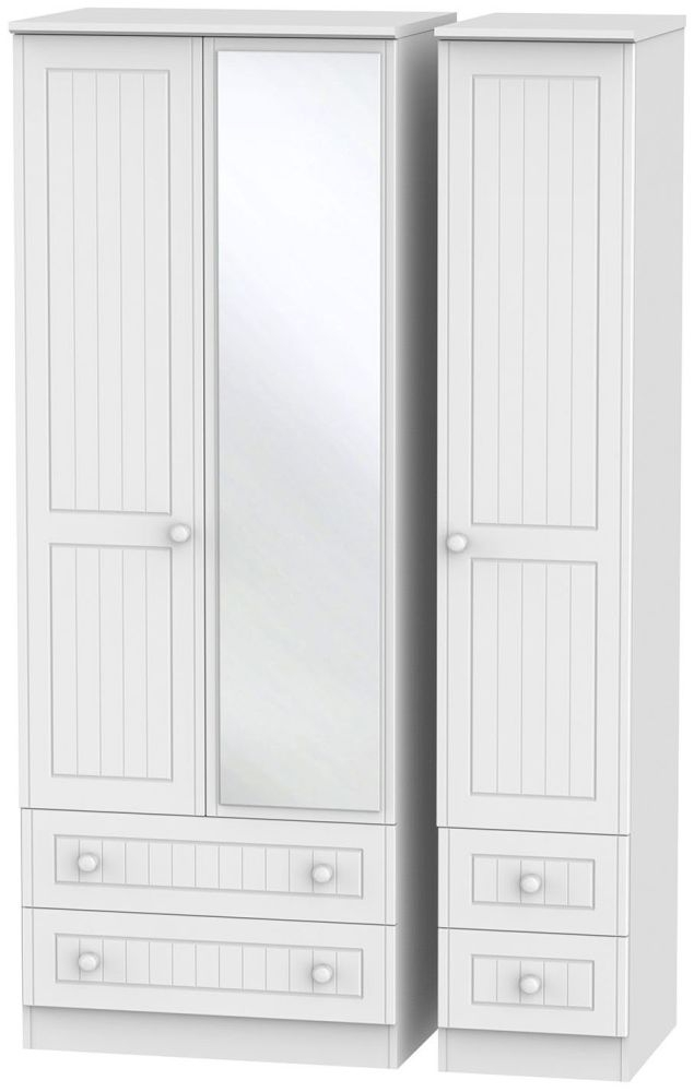 Warwick White 3 Door 4 Drawer Tall Mirror Triple Wardrobe