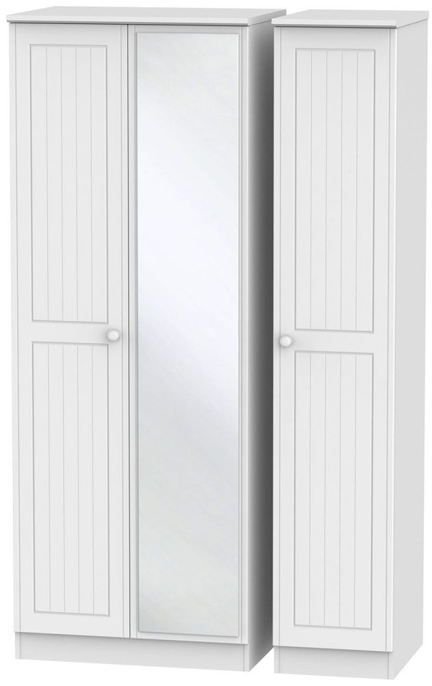 Warwick White Triple Wardrobe - Tall with Mirror