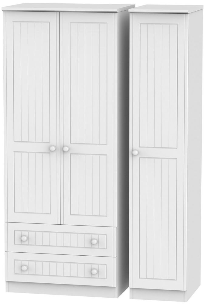 Warwick White 3 Door 2 Drawer Triple Wardrobe