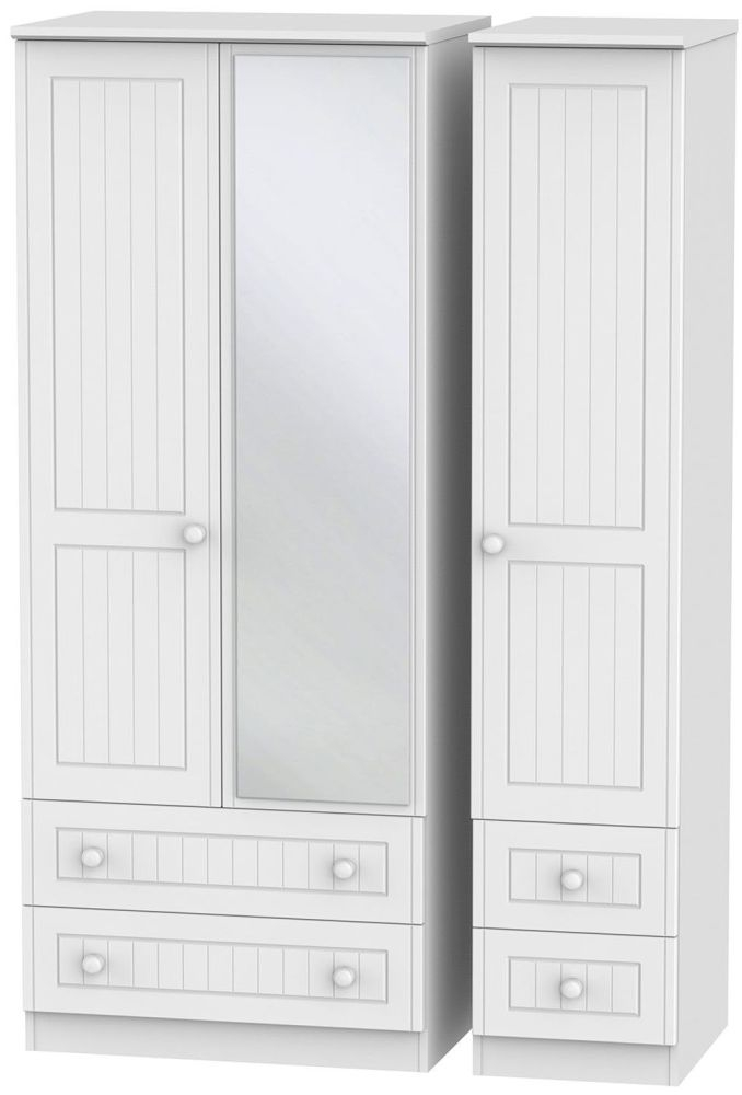 Warwick White 3 Door 4 Drawer Mirror Wardrobe