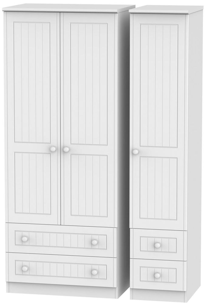 Warwick White 3 Door 4 Drawer Triple Wardrobe