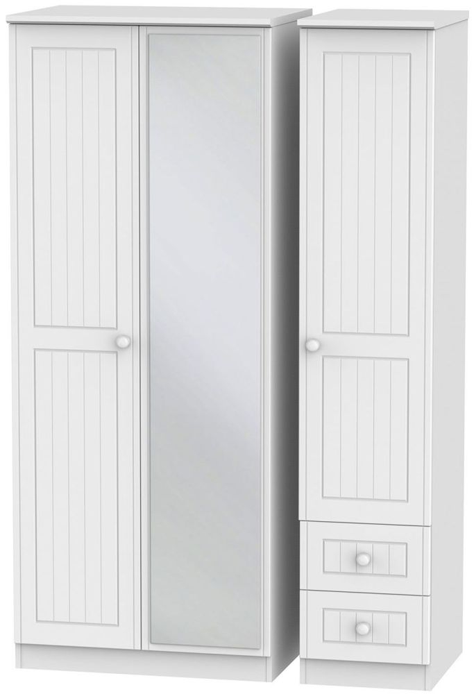 Warwick White Triple Wardrobe with Mirror and 2 Drawer