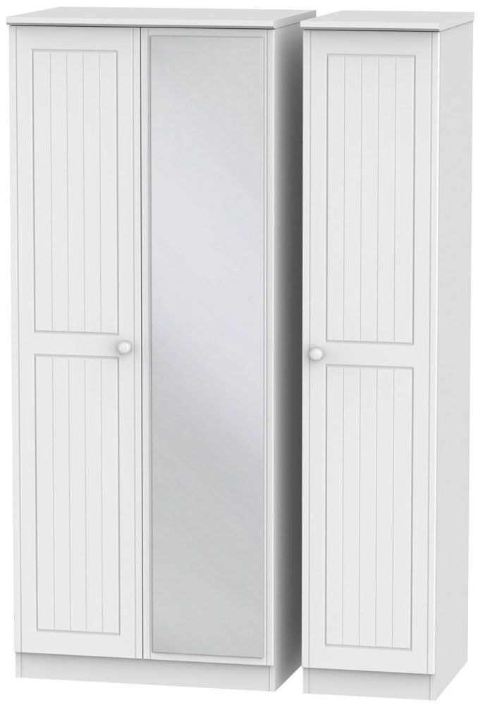 Warwick White Triple Wardrobe with Mirror