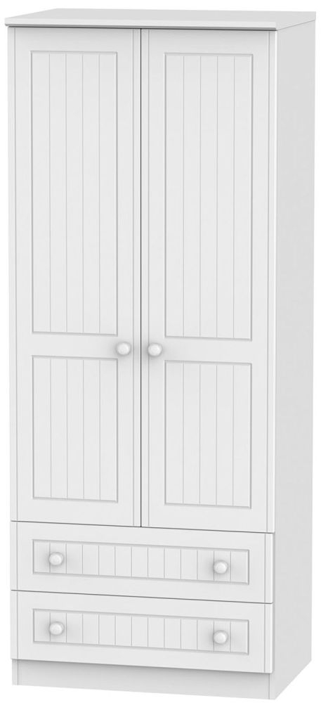 Warwick White Wardrobe - 2ft 6in with 2 Drawer