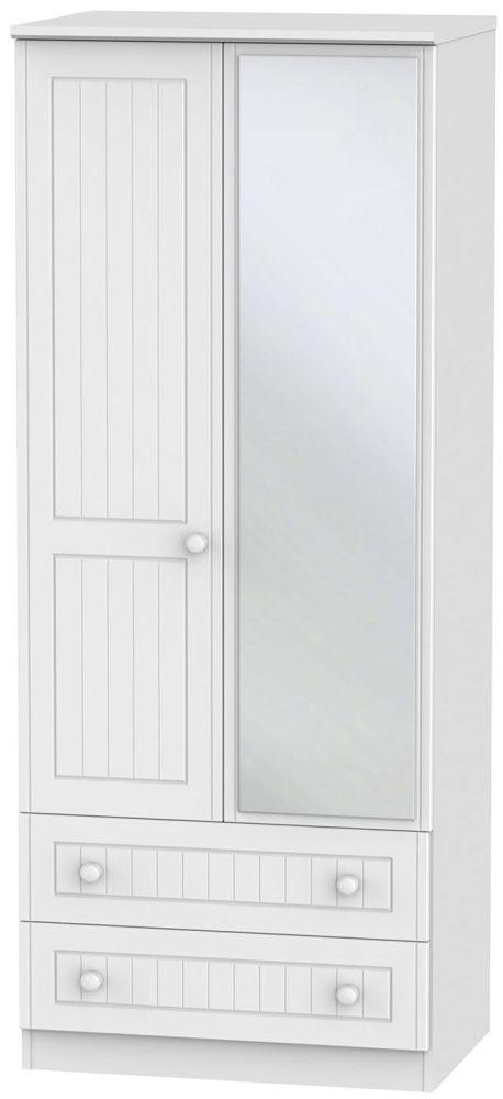Warwick White 2 Door 2 Drawer Mirror Wardrobe