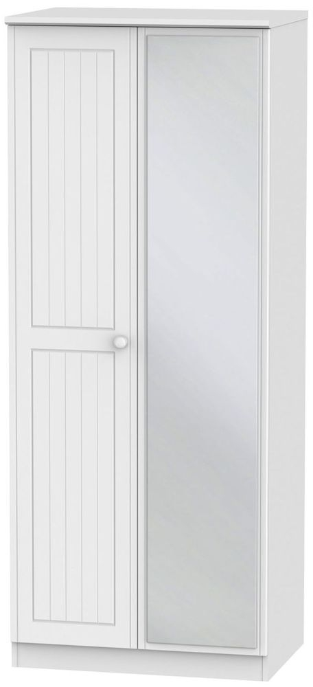 Warwick White Wardrobe - 2ft 6in with Mirror